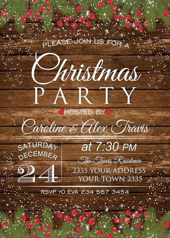 Invitación Fiesta De Navidad Cena De Navidad Invitación De Navidad Rústica Invitación Rústica Invierno Invitación De Navidad Para Imprimir