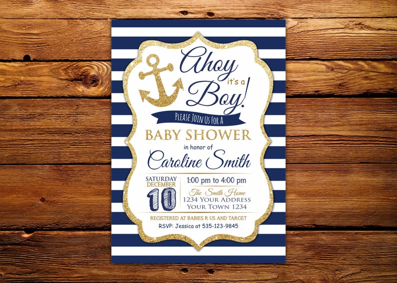 1ee0c7bf6f0a Ahoy Its a Boy Baby Shower Invitation. Nautical Baby Shower