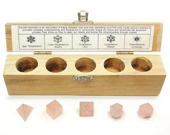 Rose Quartz Sacred Geometry/Platonic Solids 5pc. Boxed Set