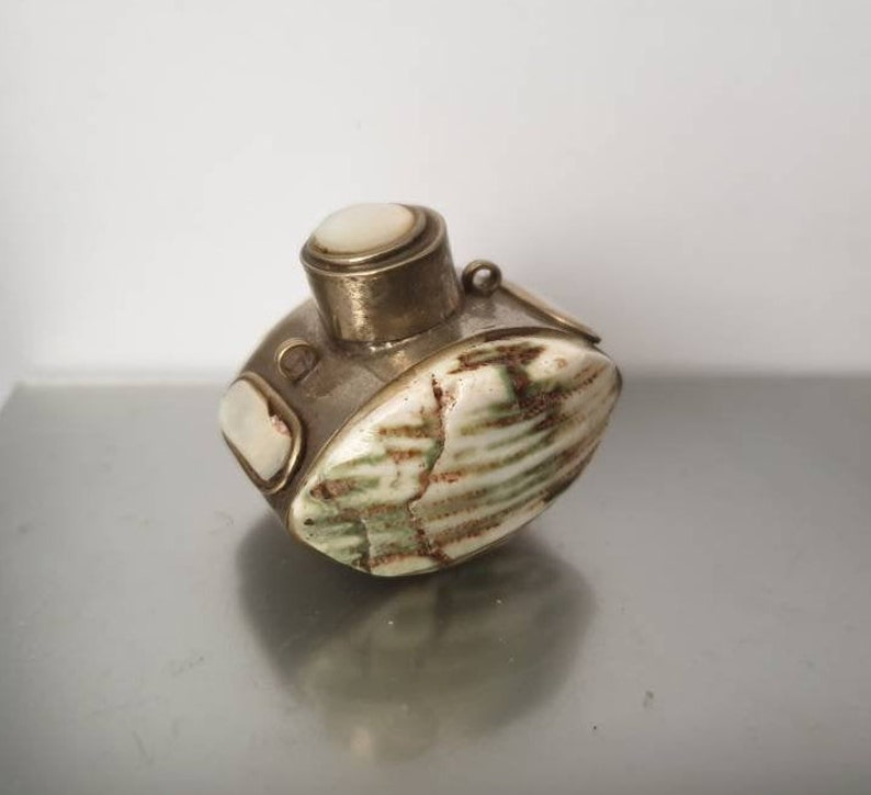Antique SNUFF BOX chatelaine silver mother of pearl and Turbo shell perfect hand made piece circa 1890
