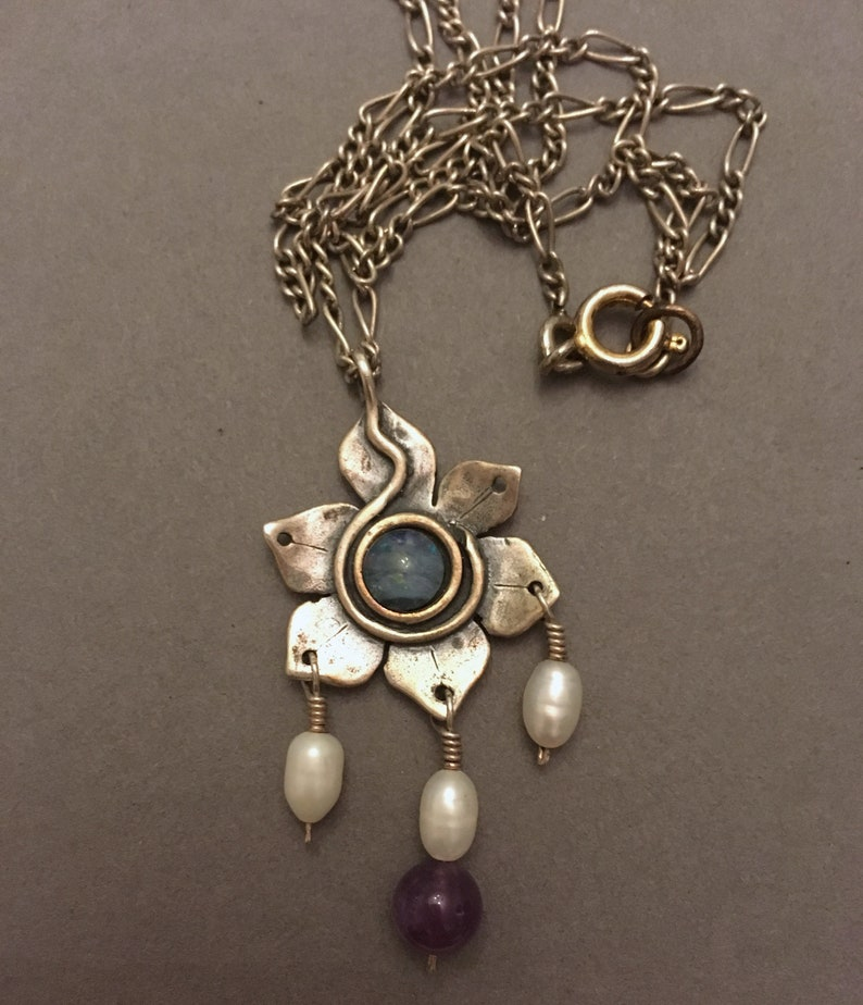 Silver opal amethyst and freshwater pearl sterling  open flower pendant with chain stamped /'UMA 925/'