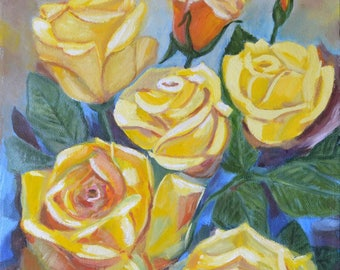 Oil painting Yellow roses