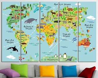 Kids world map | Etsy