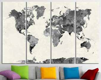 World Map Canvas Etsy - World map canvas grey