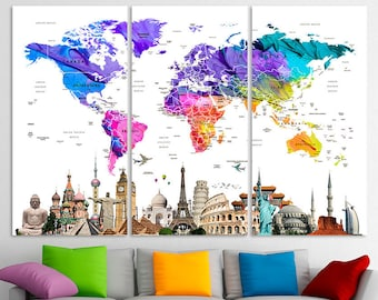 Push Pin World Map Etsy