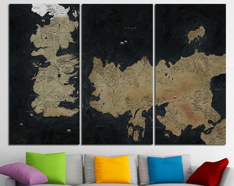 Game Of Thrones Map Art Seven Kingdoms Ice And Fire Stark Old Westeros Jon Snow Ned Lannister