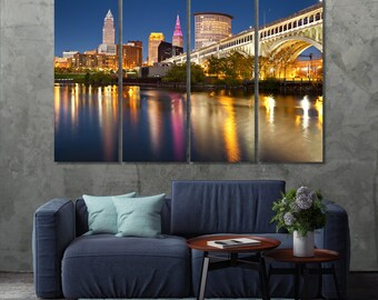 Wall Art Canvas Picture Print Cleveland Cityscape at  Night 3.2