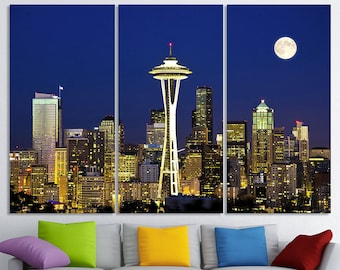 seattle canvas art etsy