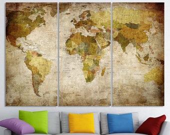 World Map Canvas Art World Map Canvas Map Canvas World Map Wall Art Map On Canvas  World Map Print World Map Poster World Map Travel Map