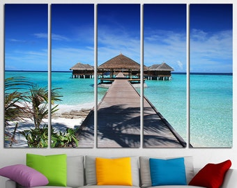 large wall art canvas print tropical island beach ocean view etsy