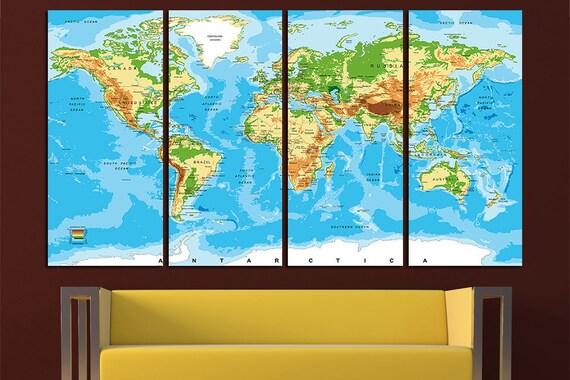 Weltkarte Leinwand Kunst Weltkarte Leinwand Karte Leinwand   Etsy