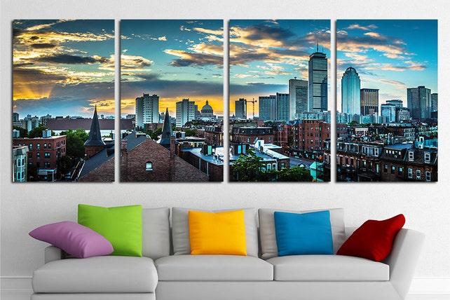 Large Boston City Canvas Wall Art Set Boston Canvas Art Boston | Etsy