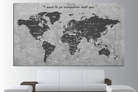 Custom quote push pin world map canvas print world map wall gumiabroncs Images