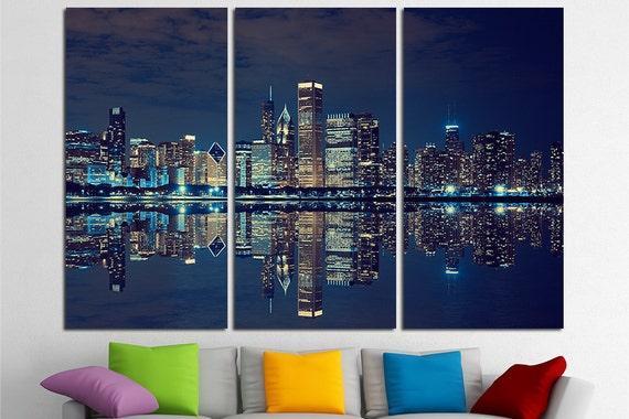 Chicago Skyline Large Canvas Print Wall Art USA Wall Art | Etsy