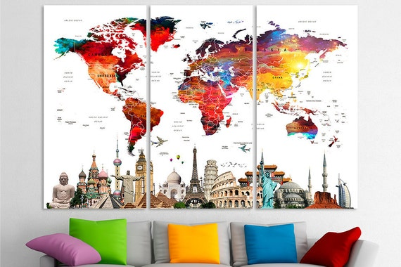 Watercolor world map push pin watercolor push pin travel map etsy image 0 gumiabroncs Images