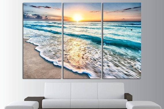 Sunset Beach Wall Art Tropical Print Ocean View Beach Canvas | Etsy