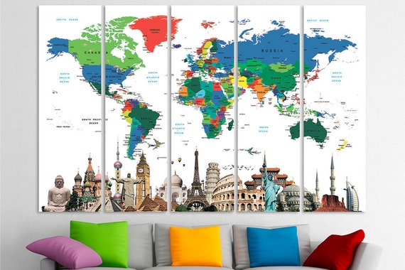 Watercolor world map push pin watercolor push pin travel map etsy gumiabroncs Images