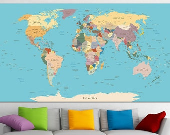 Custom quote push pin world map canvas print world map wall push pin world map canvas print world map wall art set world map print world map gumiabroncs Image collections