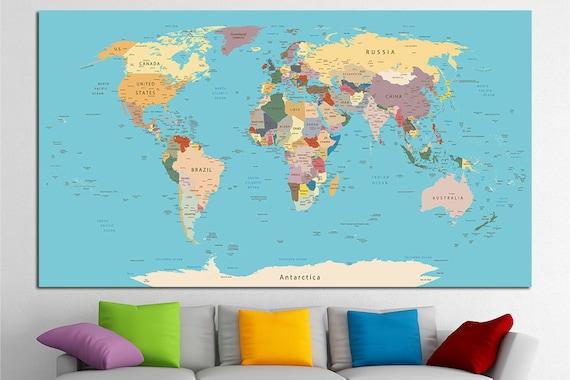 Large Wall Decor Canvas Set of Push Pin World Map Office Artwork Push on plastic world map, modeling clay world map, cork board world map, penguin world map, paper world map, bulletin board with world map, key world map, clip world map, framed world map, staples world map, pen world map,