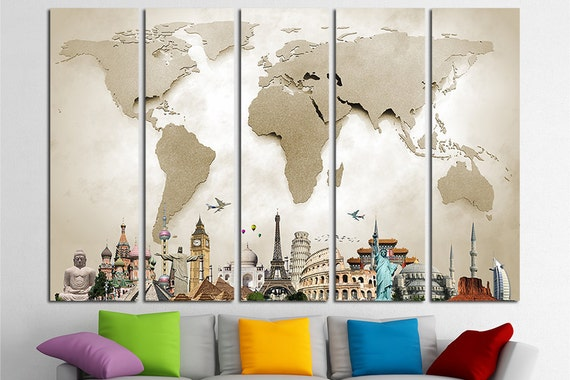 World Map Canvas Print Wall Art Multi Panel World Map Wall | Etsy