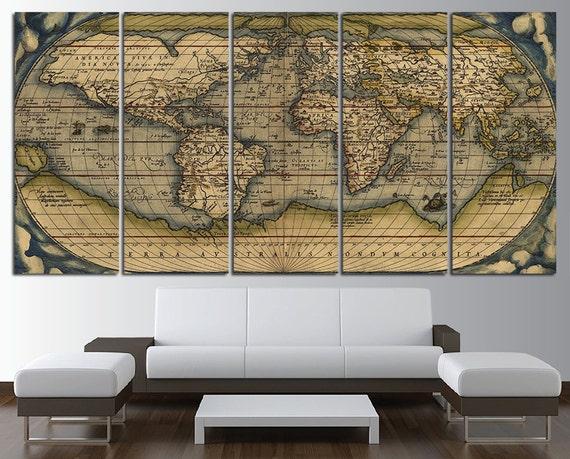 Old World Map Wall Art Multi Panel Set Vintage Large World Map Etsy