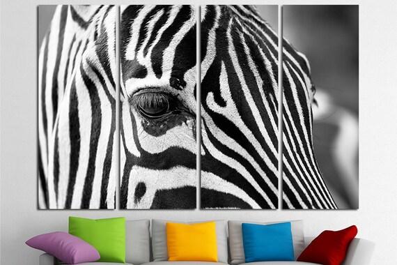 Large Zebra Canvas Print Wall Art Multi Panel Zebra Wall Art   Etsy