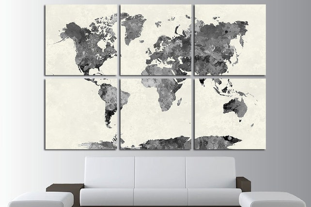 6 Multi Panel Large World Map Wall Art Canvas Print World Map | Etsy