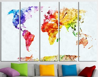 large world map watercolor canvas set map canvas world map wall art world map print large world map world map poster world map wall decor