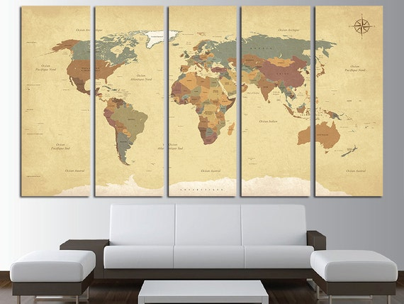 Old World Map Canvas.Vintage World Map Old World Map Antique World Map Map Canvas Etsy