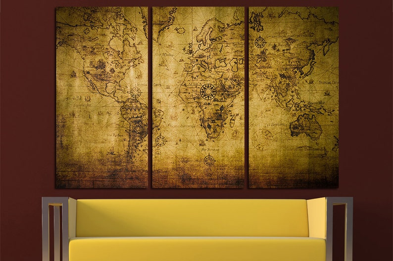 Old World Map Canvas.Vintage World Map Old World Map Antique World Map Canvas World Etsy