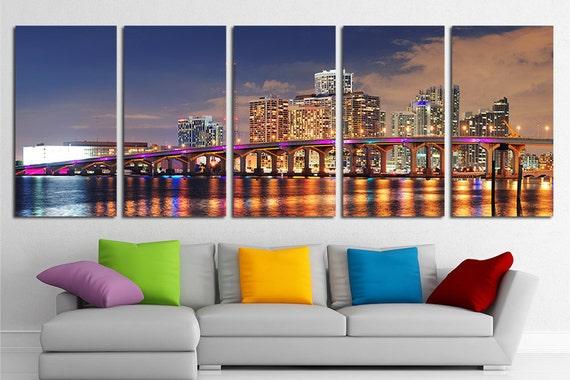 Large Miami City Canvas Wall Art Set Miami Canvas Art Miami | Etsy
