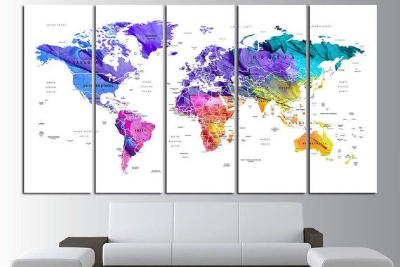 Push pin watercolor world map canvas print world map wall art etsy image 0 gumiabroncs Choice Image