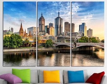Victoria Melbourne Canvas Melbourne Skyline Melbourne Decor Melbourne Wall Art Melbourne Print Melbourne Poster Melbourne Photo Australia