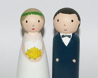 Custom Wedding Cake Topper - Custom Bride and Groom Topper - Wedding Cake Topper Custom Made Portraits - Made To Custom Requirements