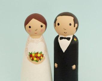 Wedding Cake Topper Bride and Groom - Custom Wedding Cake Topper Bride and Groom - Personalised Wedding Cake Topper - Wooden Peg Cake Topper