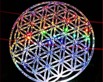 Rainbow Holographic FLOWER OF LIFE Decal Sticker - Sacred Geometry