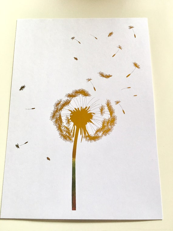 Dandelion REAL Gold Silver Copper Foil Print Wall Art Sign Home Decor Blow Ball