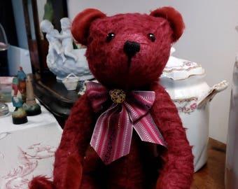 bear is handmade, dark red mohair fabric