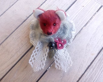 brooch with mohair bear, mothers day gift