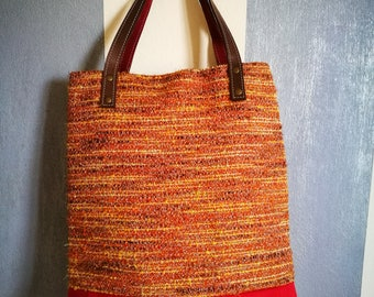 TOTE BAG. Handmade fabric bag, folding clasp, leather handles, warm colours. Handmade. Made in Italy