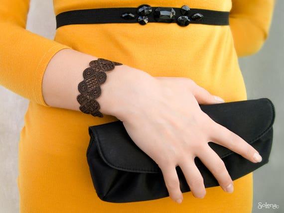 29644081d6139 Lacy bracelet Dark chocolate | bitter chocolate wristband | evening Lace  textile bangle | cotton jewelry | boho chic style | Halloween gift
