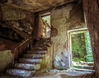 Urbex, Abandoned Building, Textural Decay, Photographic Art Print, Mystery, Exploration, Light and Shadow, Grime, Steps