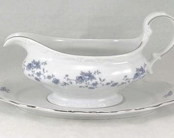 Haviland Blue GArland Gravy Boat with Seperate UnderPlate