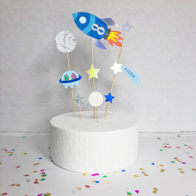Space Cake Topper Personalised Cake Topper Rocket Cake image 0