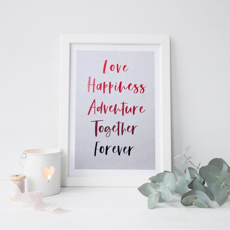 Personalised Love Art Print  Choose Your Own Romantic Words image 0