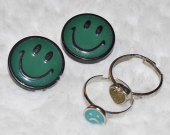 Smiley Face Earring & Ring Set
