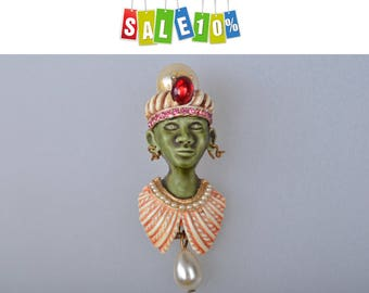 Rare Signed HAR Collectible brooch pin Turban Man Genie Sultan