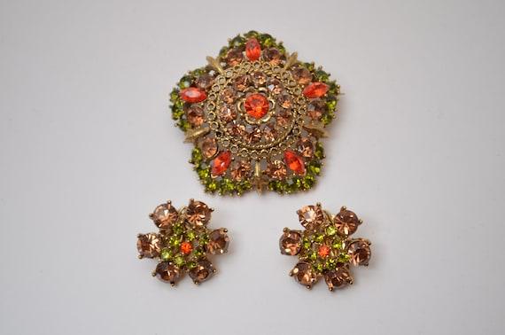 Vintage flower pin brooch floral earrings set Aust