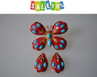 Rare HAR turquoise Cabochons and scarlet red enamel Butterfly Brooch, clip on earrings Set.