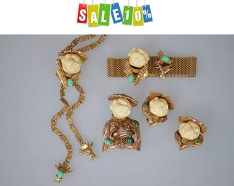 "HAR jewelry Rare Collectible vintage sets series ""Smiling Chinaman"" Bracelet and Clip on Earrings"